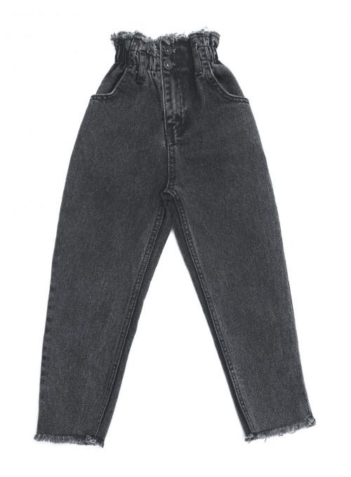 Серые джинсы на резинке для Девочек МОМ 6-10 лет