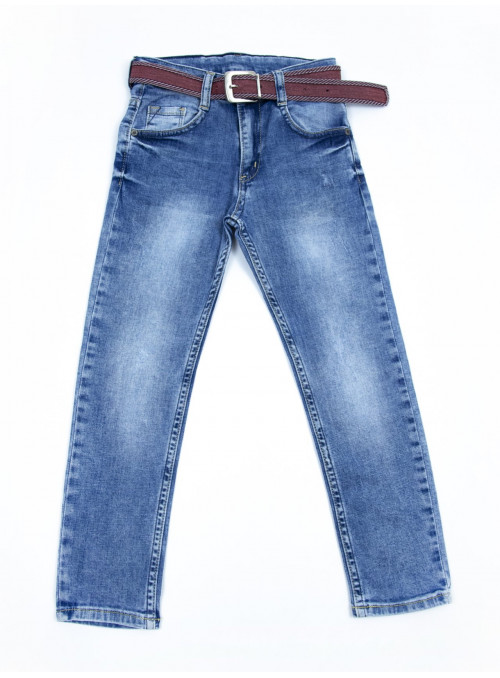 Джинсы для мальчиков синие прямые модные 6-10