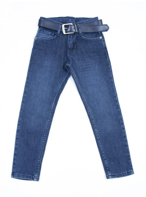Джинсы для мальчиков темно синие прямые классические 6-10