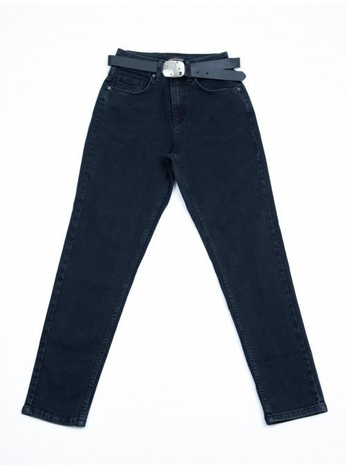 Джинсы женские МОМ с высокой талией черные с ремнем 25-30