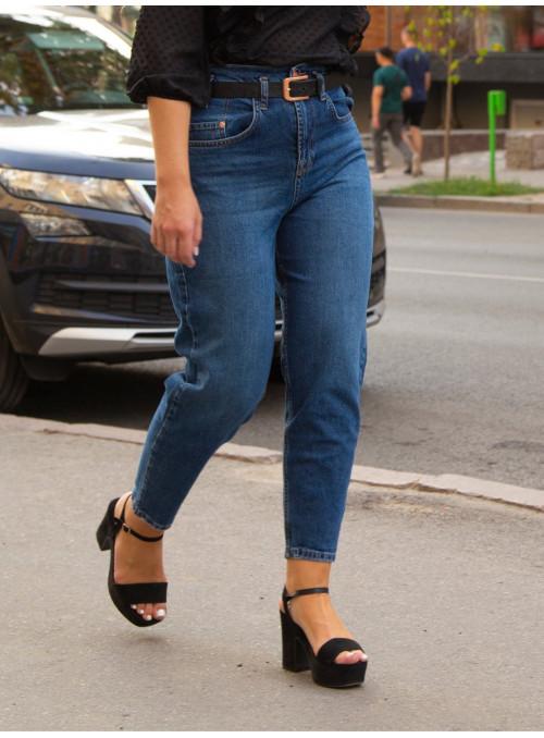 Женские джинсы МОМ с высокой талией синие 25-29